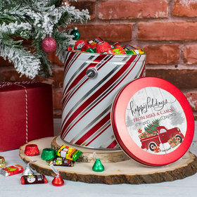 Personalized Hershey's Holidays Mix Rustic Red Truck Tin - 5 lb