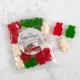 Personalzied Christmas Candy Bag with Gummy Bears - Rustic Red Truck
