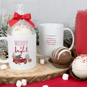 Personalized Christmas 11oz Mug with Hot Chocolate Bomb - Rustic Red Truck