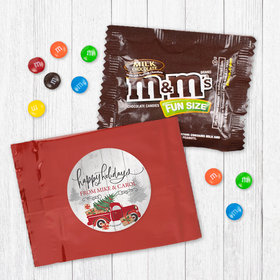 Personalized Christmas Rustic Red Truck - Milk Chocolate M&Ms