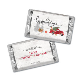 Personalized Christmas Rustic Red Truck Hershey's Miniatures Wrappers