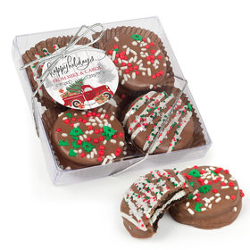 Personalized Christmas Rustic Red Truck Gourmet Belgian Chocolate Covered Oreos 4pc Gift Box