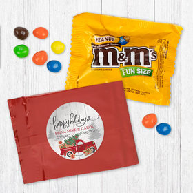 Personalized Christmas Rustic Red Truck - Peanut M&Ms