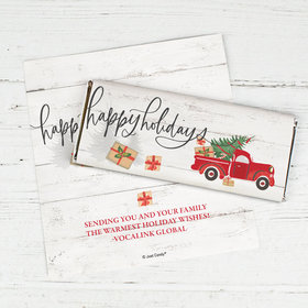 Personalized Christmas Chocolate Bar Wrappers Only - Rustic Red Truck