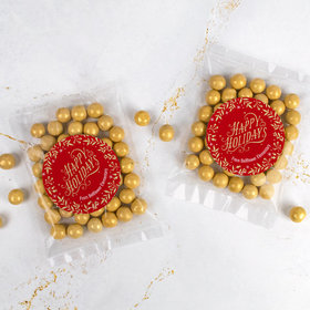 Personalized Christmas Candy Bag with Sixlets - Gold Leaves