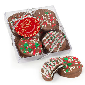 Personalized Christmas Gold Leaves Gourmet Belgian Chocolate Covered Oreos 4pc Gift Box