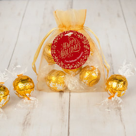 Personalized Christmas Golden Leaves Lindor Truffles by Lindt in Organza Bags with Gift Tag