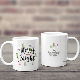 Personalized Merry and Bright 11oz Mug Empty