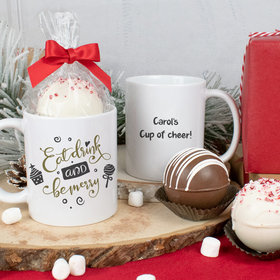 Personalized Christmas 11oz Mug with Hot Chocolate Bomb - Eat Drink and be Merry