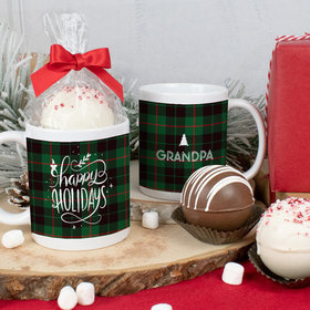 Personalized Christmas 11oz Mug with Hot Chocolate Bomb - Happy Holidays in Plaid