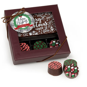 Personalized Merry Christmas Wreath Add Your Logo Gourmet Belgian Chocolate Bar and Truffles (3 Truffles)
