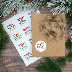Personalized Colorful Merry & Bright Labels (72 Pack)