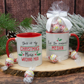 Personalized Christmas Movie Watching 11oz Mug with Lindt Truffles