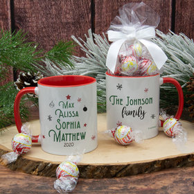 Personalized Christmas Tree Family of 4 11oz Mug with Lindt Truffles