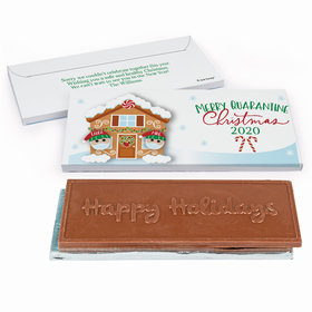 Deluxe Personalized Christmas Quarantine Couple Embossed Happy Holidays Chocolate Bar in Gift Box
