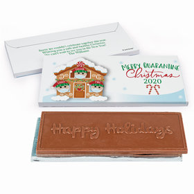 Deluxe Personalized Christmas Quarantine Family of 3 Embossed Happy Holidays Chocolate Bar in Gift Box