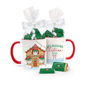 Quarantine Christmas Family of 3 Personalized 11oz Coffee Mug with approx. 24 Wrapped Hershey's Miniatures