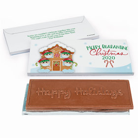 Deluxe Personalized Christmas Quarantine Family of 4 Embossed Happy Holidays Chocolate Bar in Gift Box