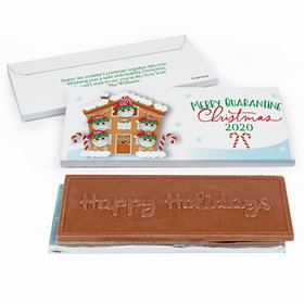 Deluxe Personalized Christmas Quarantine Family of 5 Embossed Happy Holidays Chocolate Bar in Gift Box