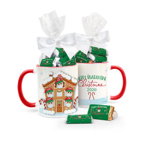 Quarantine Christmas Family of 5 Personalized 11oz Coffee Mug with approx. 24 Wrapped Hershey's Miniatures