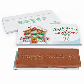 Deluxe Personalized Christmas Quarantine Family of 6 Embossed Happy Holidays Chocolate Bar in Gift Box