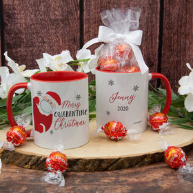 Personalized Quarantine Santa Christmas 11oz Mug with Lindt Truffles