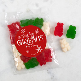 Personalized Christmas Merry Christmas Candy Bags with Gummi Bears