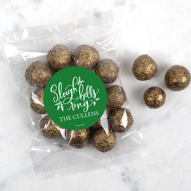 Personalized Christmas Sleigh Bells Candy Bags with Premium Gourmet Sparkling Prosecco Cordials