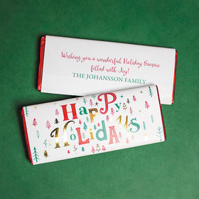 Personalized Christmas Happy Holidays Chocolate Bars
