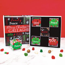 Merry Christmas Greetings Gifts Personalized Premium Gift Box with 5 JUST CANDY® favor cubes