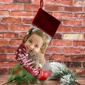 Custom Christmas Stocking Photo Upload Choose Word