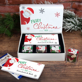 Personalized Merry Quarantine Christmas Premium Gift Box with Lindt Milk Chocolate Bar & 3 JUST CANDY® favor cubes