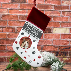Custom Christmas Stocking Cat Photo