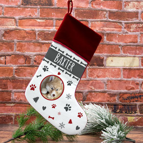 Custom Christmas Stocking Dog Photo