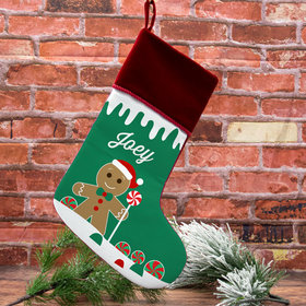 Custom Christmas Stocking Gingerbread Character Boy