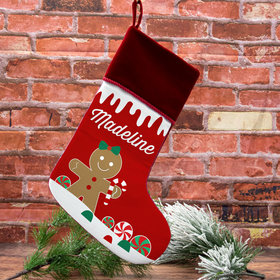 Custom Christmas Stocking Gingerbread Character Girl