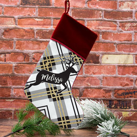 Custom Christmas Stocking Plaid Reindeer