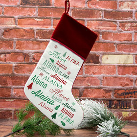 Custom Christmas Stocking Repeating Name