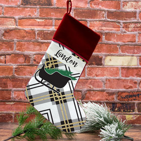Custom Christmas Stocking Plaid Icon Sleigh