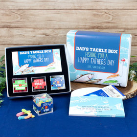 Personalized Father's Day Tackle Box Premium Gift Box with Lindt Milk Chocolate Bar & 3 JUST CANDY® favor cubes