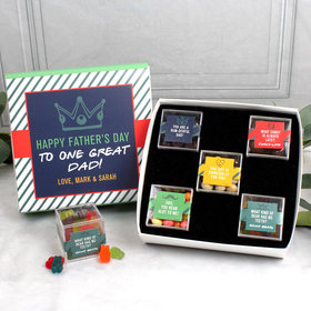 Personalized Father's Day Premium Gift Box with 5 JUST CANDY® favor cubes - One Great Dad!