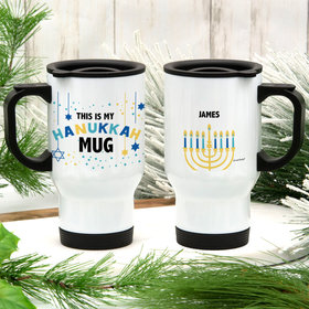 Personalized This is My Hanukkah Stainless Steel Travel Mug (14oz)