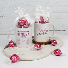 Personalized Blessed Grandma with 5 Grandkids - 11oz Mug with Lindt Truffles