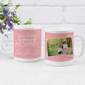 Personalized Mother with 3 Our Hearts Belong to Mommy - 11oz Empty Mug