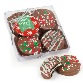Personalized Christmas New Year's Snowflakes Gourmet Belgian Chocolate Covered Oreos 4pc Gift Box