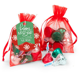 Personalized New Year's Snowflakes Add Your Logo Hershey's Kisses in Organza Bags with Gift Tag