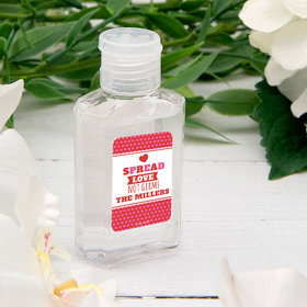 Personalized Hand Sanitizer Valentine's Day 2 fl. oz bottle - Spread Love Not Germs Polka Dots