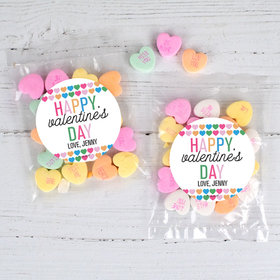 Personalized Valentine's Day Colorful Hearts 1oz Candy Bags with Conversation Hearts