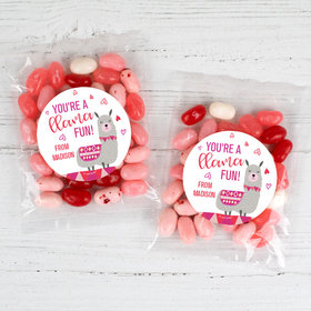 Personalized Valentine's Day Llama Fun Candy Bags with Jelly Belly Jelly Beans
