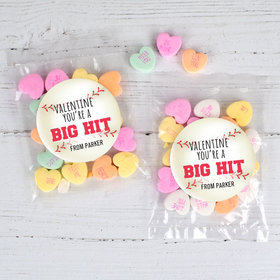 Personalized Valentine's Day Baseball 1oz Candy Bags with Conversation Hearts
